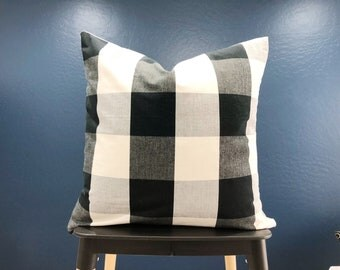 "Buffalo check black & cream large check 20"" pillow cover"