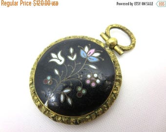 OnSale Antique Victorian Mourning Pendant - Enamel and Hairwork