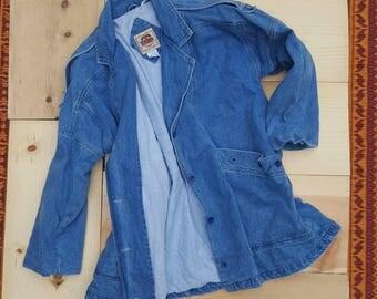 Vintage Denim Jacket  //  Vtg 80s Oversized Stone Wash Denim Jacket with Flannel Lining