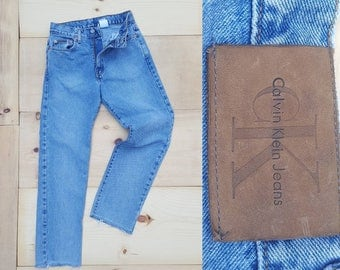 "Vintage CK Jeans  //  Vtg 90s Calvin Klein Made in the USA Distressed Cropped Stone Wash Denim Jeans w/ Raw Hems  //  25.5"" waist"