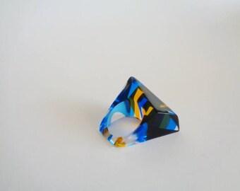 Vintage Blue Orange Lucite Plastic  Ring