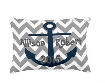 Personalized Nautical anchor pillow gray chevron pillow navy blue anchor personalized names wedding pillow date birth date sail boat decor