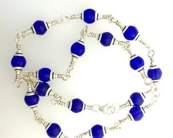 OnSale Cobalt Blue Czech Glass and Sterling Silver Necklace 18 1/2 ins Long