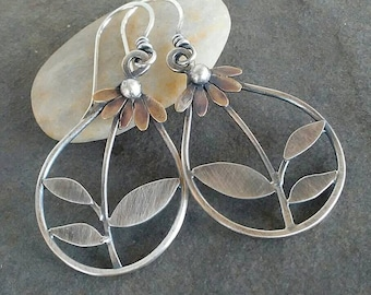 Rustic- Handmade- OOAK- Artisan Jewelry- Daisy Earrings- Sterling silver- Brass-Mixed Metal- Earrings.