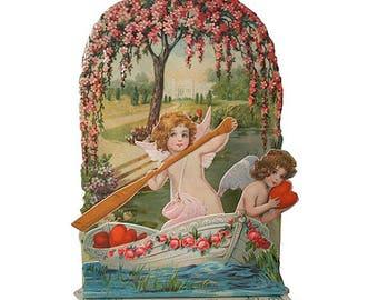 Vintage Angel Boat Pulldown Valentine Card   CD060