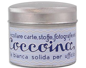 Italy Glue Coccoina Paste Tin w/ Brush Pastel Blue Label ~ Made in Italy   COC125