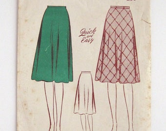 1940s 50s Butterick pattern 2619 Womans  2 piece circular skirt waist 28 non printed pattern