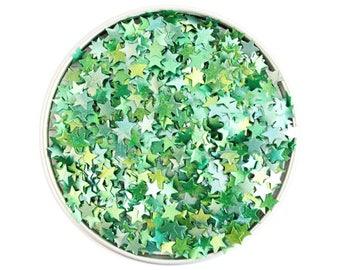 Green Star Edible Glitter - metallic green star glitter sprinkles, edible green glitter stars, green star sprinkles
