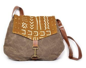 satchel • crossbody purse - waxed canvas bag - mudcloth • geometric - mustard african mud cloth - brown waxed canvas • every day bag