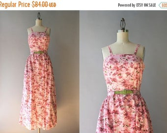 STOREWIDE SALE 1940s Maxi Dress / Vintage 40s Pink Floral Sleeveless Dress with Full Overskirt / Three Piece 40s 50s Maxi Sundress XS extra