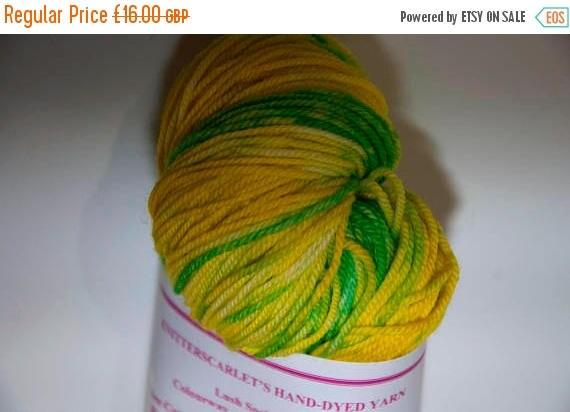 Christmas In July Hand-Dyed Yarn in Daffodils Sock Yarn Merino/Cashmere/Nylon Lush Base