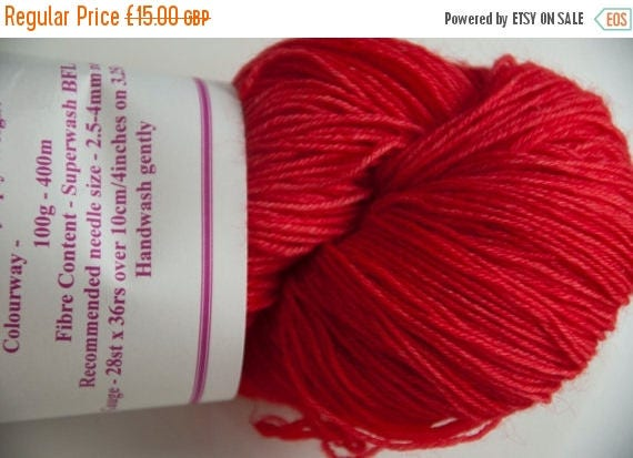 Christmas In July Hand-Dyed Yarn in Red Hot Chilli Colourway 4ply Superwash BFL Sturdy Base