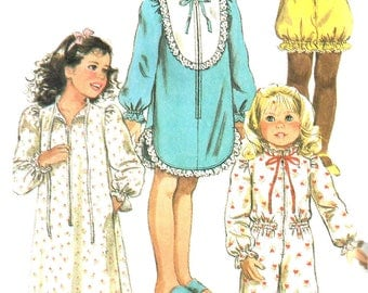 Child's Nightgown Pattern 1980s Long Short Pajamas Children's Robe Uncut Vintage Simplicity Sewing Girl's Size Medium 4 - 5