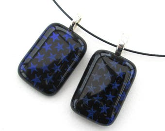 Blue stars dichroic glass sparkly pendant, Handmade glass pendant, star patterned glass jewelry, birthday gifts for her, Jewellery sale,