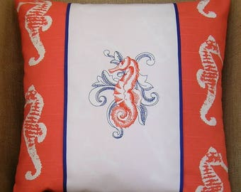 Seahorse, Seahorse Pillow, Embroidered Pillow, Embroidered Pillow Wrap, Decrative Pillow