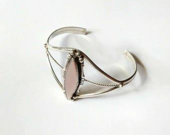 Vintage cuff bracelet mother of pearl MOP pink sterling silver Navajo 925