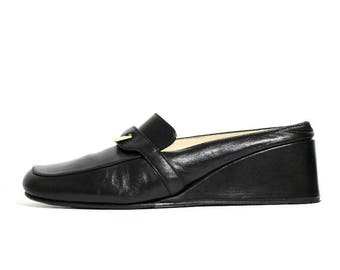 1990s Black Loafers Mules Wedges Shoes