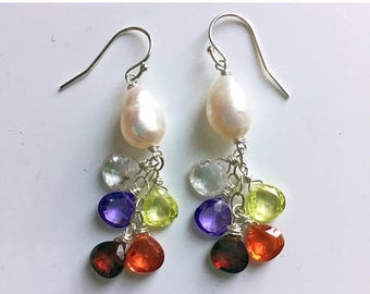 XMAS IN JULY 20% off, Baroque Rainbow pearl cluster dangle earrings, Walk this Way Dangles
