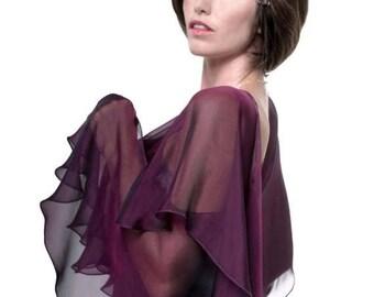 Promo Sale: Purple Grape Silk Evening Fluttering Scarf Wrap