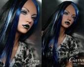 Saran hard cap wig for Iplehouse SID EID woman -- Black, Sapphire, and Silver wig -- Laurie Lenz ANGELS Doll Studio