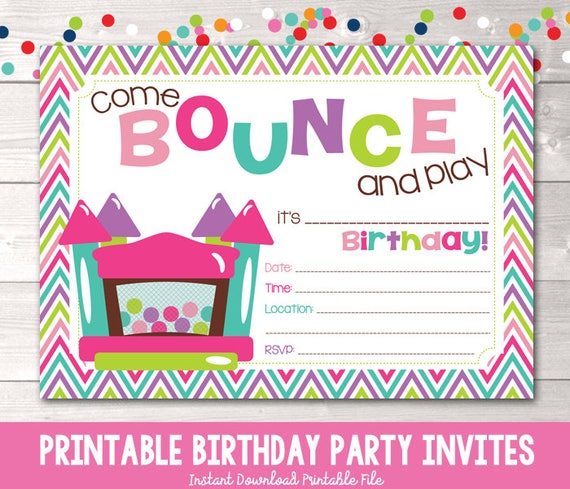 Bounce House Instant Download Birthday Party Invitation Girls Bouncy Castle Kids Printable Invite