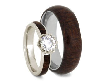 Caribbean Rosewood Wedding Ring Set, Moissanite Engagement Ring in White Gold With Titanium Band Overlaid With Wood