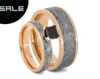 SALE - Gibeon Meteorite Wedding Ring, Black Diamond Engagement Ring With Men's 14k Rose Gold Wedding Band