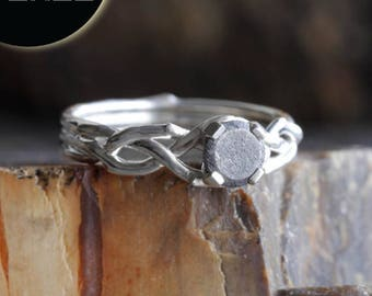 SALE - Sterling Silver Engagement Ring, Woven Ring Band With Faceted Meteorite Center Stone, Unique Meteorite Engagement Ring