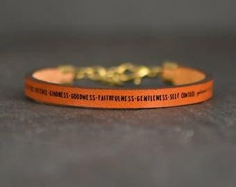 fruit of the spirit | bracelet | leather jewelry | christian gift | bible verse bracelet | galatians 5  | bible study gift | faith jewelry