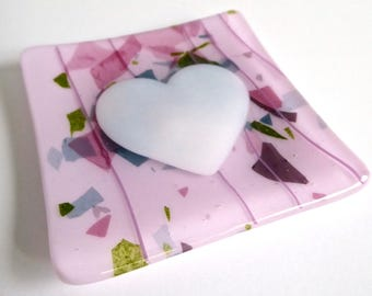 Pink and White Heart Plate by BPRDesigns