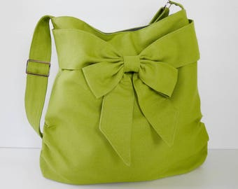 Sale - Pear Green Canvas Bag, tote, handbag, purse, bow, Crossbody, unique - JESSICA