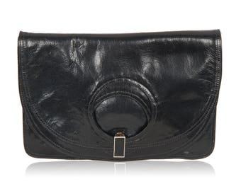 BOTTEGA VENETA Vintage Blue Leather Fold Over Clutch Bag