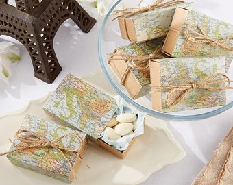 Set of 24 Around The World Map Favor Boxes Bridal Shower Wedding Favors