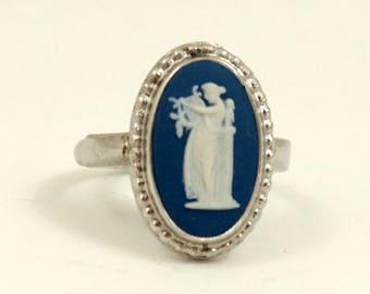 Vintage Wedgwood Ring Sterling Silver Dark Blue Jasper Cameo Ring Wedgewood Ring US Size 6 UK Size L Half