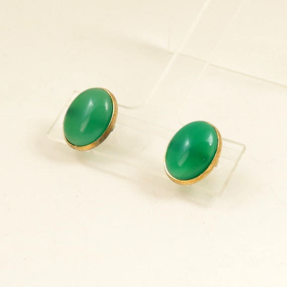 Vintage Green Onyx Stud Earrings