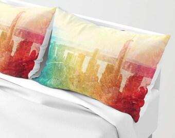 New York Pillow Shams Set of 2, Pillow Cover, Dorm, City Decor, Urban bedroom, Dorm, Wedding Gift, Manhattan Landscape bedding, Abstract