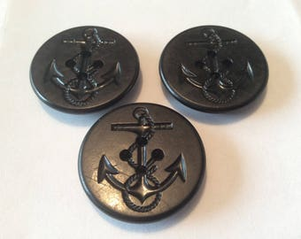 Three large vintage black nautical motif buttons