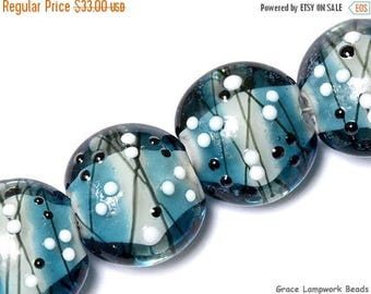 ON SALE 35% OFF Four Windjammer Party Lentil Beads - Handmade Glass Lampwork Bead Set 10412512