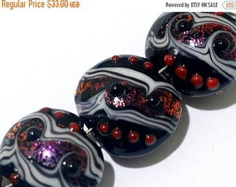 ON SALE 35% OFF Glass Lampwork Bead Set - Four Disco Night 2 Stardust Lentil Beads 10705812