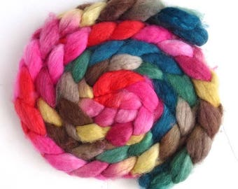 BFL Wool Roving - Hand Painted Spinning or Felting Fiber, Begin Again