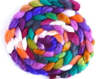 Superwash BFL Wool/ Nylon - Hand Painted Spinning or Felting Fiber, Morning Optimism