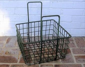 Antique Vintage Metal Basket Antique Primitive Basket With Metal Handles Old Milk Crate Milk Basket