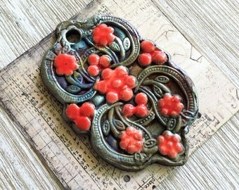 Wondrousstrange Raku Large Red Blue Green Copper Raku Pendant