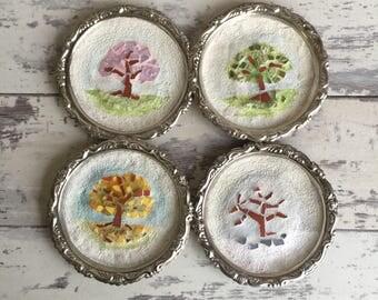 The Four Seasons - Trees - Broken China Mosaic - Mixed Media - Tiny Art
