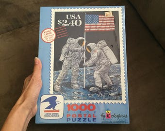 Vintage Postal Stamp Puzzle, nwt 80s NASA Moon Landing commemorative stamp wrapped puzzle Colorforms Jigsaw Puzzle new Vintage americana usa