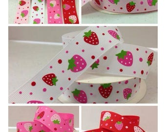 7/8 x 10 yds GROSGRAIN RIBBON -Sweet Strawberries..Your Choice of Colors**Use Code for 25% OFF**