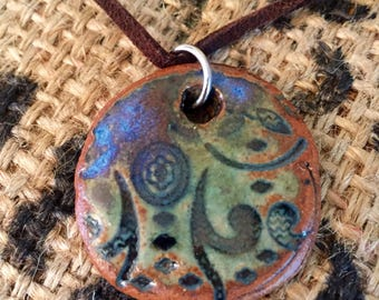 Stamped Ceramic Pendant Necklace