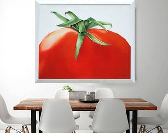 Big Tomato Painting Stalk Sculpted in Fabric 3 Dimensional Vibrant Red Green Wall Art - 50% SALE