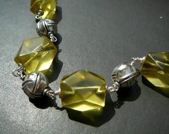 Chunky lemon quartz and silver Boho bracelet - Thai beads, fine silver, sterling silver semi-precious stone