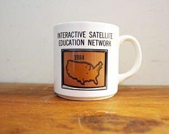 vintage 1980s Magic Appearing US Satellite Education IBM Novelty Coffee Mug